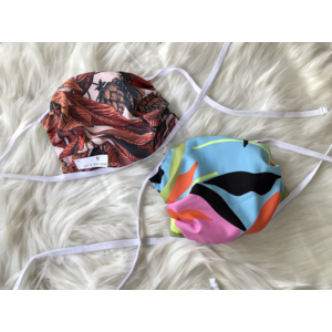 Maaji (Ages 4-Adult) Reversible Face Mask - Ties -  F (Sunset Leaves & Jungle Abstract)