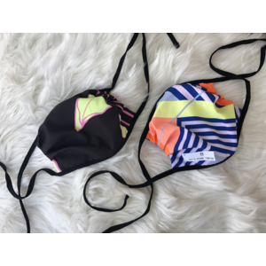 Maaji (Ages 4-Adult) Reversible Face Mask - Ties -  I (Dark Neon Flower & Neon Stripes)