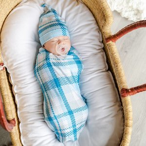 Little Sleepies Blueberry Plaid - Bamboo Swaddle & Knotted Hat Gift Set