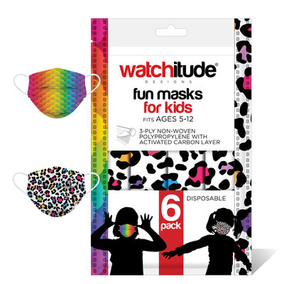 Watchitude (Ages 5-12) 6 Pack of Kids Face Masks - Style #697 (leopard camo and rainbow)