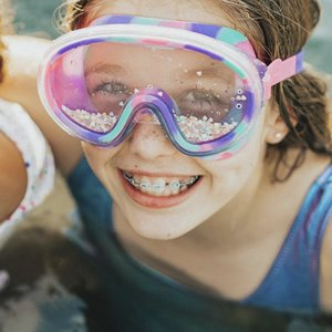 Bling2O Sany Toes Sand Art Swim Mask Goggles - Purple