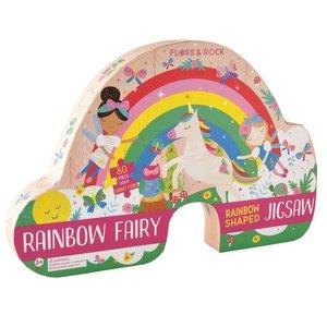 Floss & Rock 80 Piece - Rainbow Fairy Shaped Jigsaw Puzzle (in shaped box)