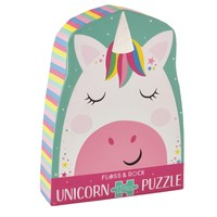 Floss & Rock Rainbow Unicorn - 12 Piece Shaped Jigsaw Puzzle  (in shaped box)