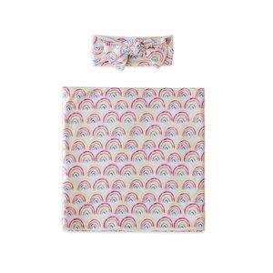 Little Sleepies Pastel Rainbows - Bamboo Swaddle & Headband Gift Set
