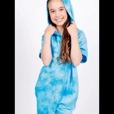 Candy Pink Blue Tie Dye Romper
