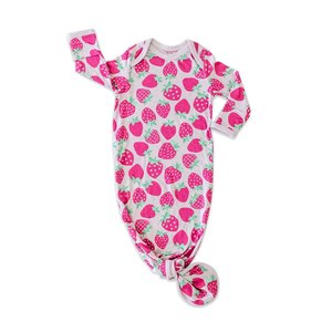 Little Sleepies Strawberries - Bamboo Infant Knotted Gown