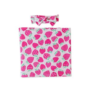 Little Sleepies Strawberries - Bamboo Swaddle & Headband Gift Set