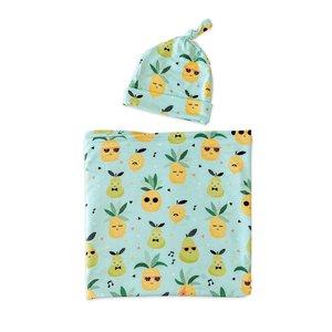 Little Sleepies Pineapples - Bamboo Swaddle & Headband Gift Set
