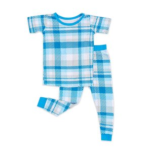 Little Sleepies Blueberry Plaid - 2-Piece Short Sleeve Pajama Set