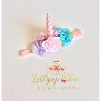 Lollipop Chic Bowtique Mini Unicorn Headband (Pink and Teal)