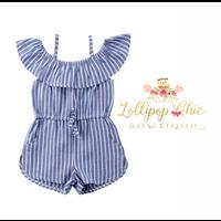Lollipop Chic Bowtique Blue Stripe Off Shoulder Romper