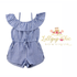 Lollipop Chic Bowtique Blue Stripe Off Shoulder Romper