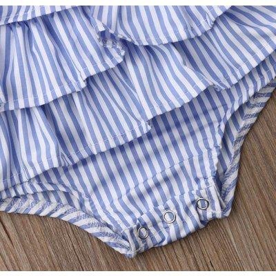 Lollipop Chic Bowtique Blue Stripe Ruffle Bow Romper