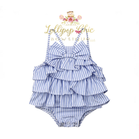 Lollipop Chic Bowtique Blue Stripe Ruffle Bow Romper