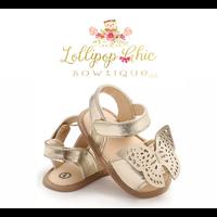 Lollipop Chic Bowtique Gold Butterfly Baby Sandals