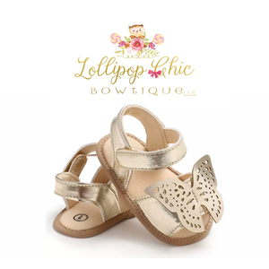 Lollipop Chic Bowtique Gold Butterfly Baby Sandals