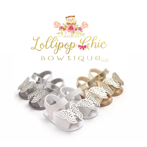 Lollipop Chic Bowtique Silver Butterfly Baby Sandals