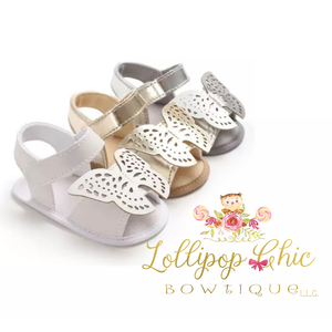 Lollipop Chic Bowtique White Butterfly Baby Sandals