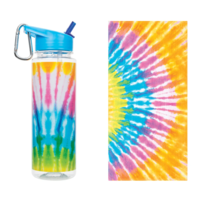 Make It Real Tie dye towel and water bottle