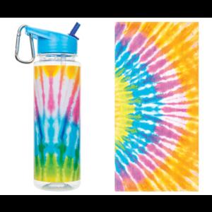 Make It Real Tie dye towel and water bottle