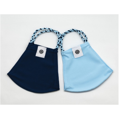 Pomchies 2 pack of Reusable Face masks - Solid Light Blue & Solid Navy (Ages 6-Adult)