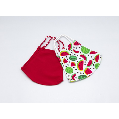 Pomchies 2 pack of Reusable Face masks - Watermelon Print & Solid Bright Red (Ages 6-Adult) FINAL SALE