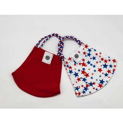Pomchies 2 pack of Reusable Face masks - Liberty Stars Print & Solid Red (Ages 6-Adult) FINAL SALE