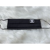Sugar & Spice Black with White CC Chanel Logo - Pleated Face Mask (12-Adult)