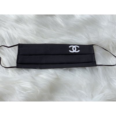 Sugar & Spice Black with White CC Chanel Logo - Pleated Face Mask (Kids 4-Small Adult)