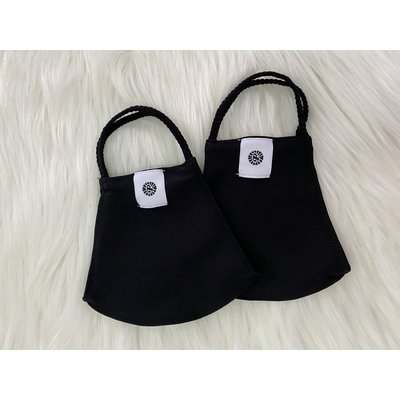 Pomchies 2 pack of Reusable Face masks - 2 Solid Black Masks (Ages 6-Adult)