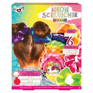 Fashion Angels NEON TIE DYE Scrunchie Design Kit - Make 6 Scrunchies + Pop-Up Brush!