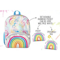 Fashion Angels Rainbow Metallic Backpack w/Pop Off X-body