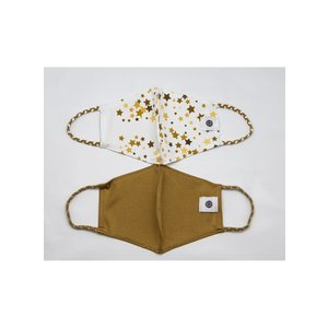Pomchies 2 pack of Reusable Face masks - Gold Stars & Solid Gold (Ages 6-Adult) FINAL SALE