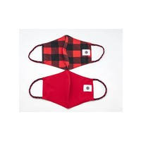 Pomchies 2 pack of Reusable Face masks - Buffalo Plaid Print & Solid Bright Red (Ages 6-Adult) FINAL SALE