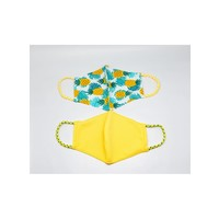 Pomchies 2 pack of Reusable Face masks - Pineapple and Solid Bright Yellow (Ages 6-Adult)