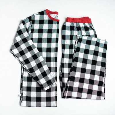 Little Sleepies Black and White Plaid - Two-Piece Men's Bamboo Pajama Set