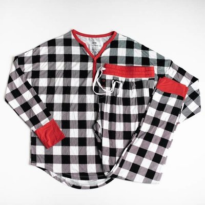 Little Sleepies Black and White Plaid - Two-Piece Women's Bamboo Pajama Set