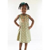 Yo Baby Blue and Pink Cotton Chevron Floral Dress