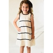 Yo Baby White with Black Stripe Cotton Dress