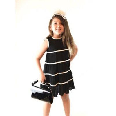 Yo Baby Black with White Stripes Cotton Dress