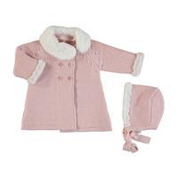 Mayoral Velvet lined pink knit coat w/ bonnett