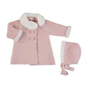 Mayoral Velvet lined pink knit coat w/ bonnett