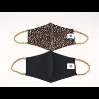 Pomchies 2 pack of Reusable Face masks - Leopard Print & Solid Black (Ages 6-Adult) FINAL SALE