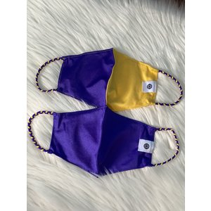 Pomchies 2 pack of Reusable Face masks - Solid LSU Purple & Half LSU Yellow Gold Half Purple (Ages 6-Adult) FINAL SALE