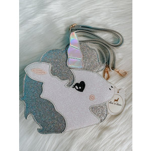 Doe a Dear Unicorn Face Glitter CB Purse - Silver