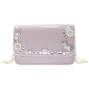 Doe a Dear Patent crossbody purse with Charms - Pink