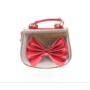 Doe a Dear Metallic Horse Shoes Large Bow with Top Handle Bag - Red/Gold
