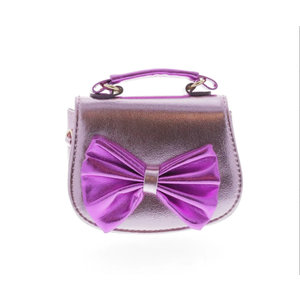 Doe a Dear Metallic Horse Shoes Large Bow with Top Handle Bag - Lilac/Purple