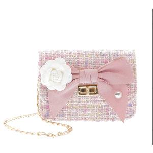 Doe a Dear Mini Boucle Bow Front Cross Body Bag - Pink