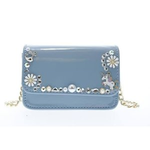 Doe a Dear Patent crossbody purse with Charms - Blue